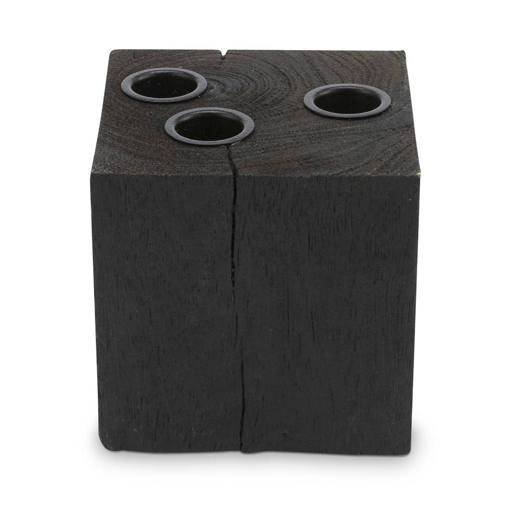 vtwonen kandelaar Block Square Reversable Wood Black (10x10x10cm), Zwart