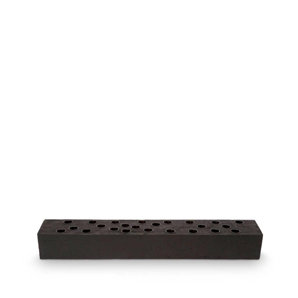 vtwonen kandelaar Block Rectangular Reversable Wood Black 60x10x8cm, Zwart