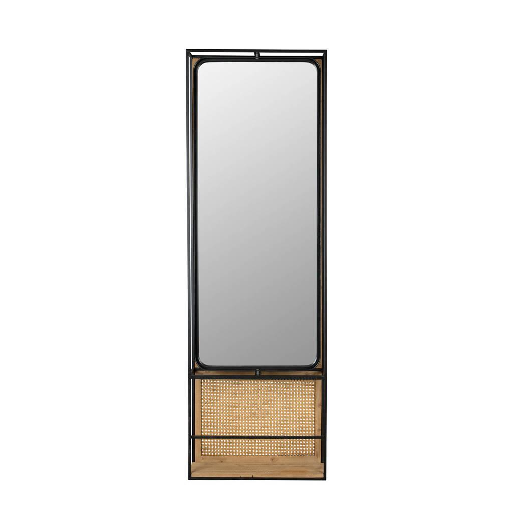 Dutchbone spiegel met kapstok Home Deco, Zwart
