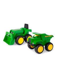 Tomy  Mini Tractor met Voorlader & Kiepwagen - John Deere