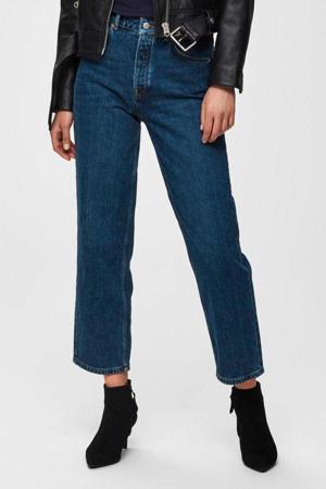 high waist straight fit jeans SLFKATE medium blue denim