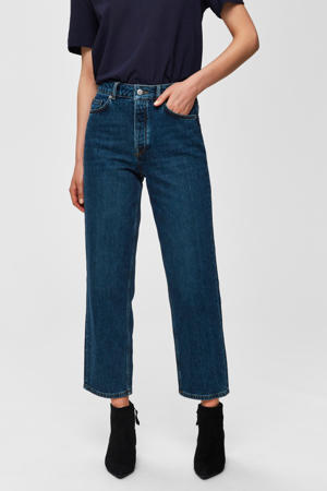high waist straight fit jeans blauw