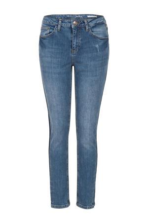 skinny jeans met zijstreep blauw