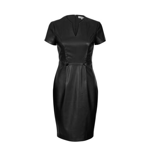 PROMISS imitatieleren jurk zwart