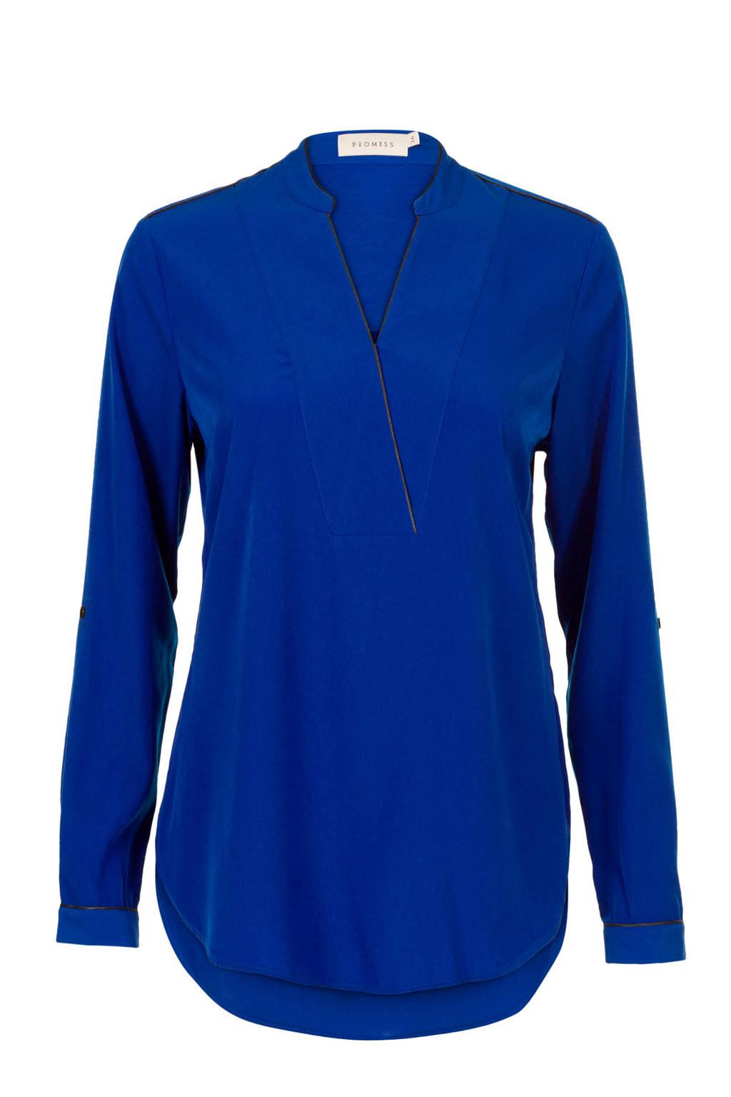 PROMISS top met contrastbies en overslag blauw, Blauw