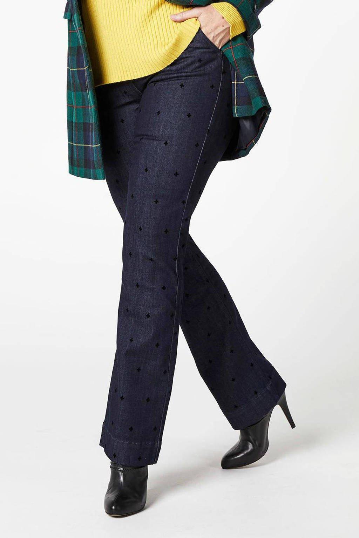 PROMISS flared jeans met all over print dark denim, Dark denim