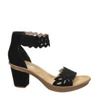 Rieker  comfort sandalettes met sierstenen zwart, Zwart