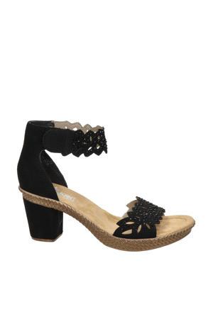 comfort sandalettes met sierstenen zwart