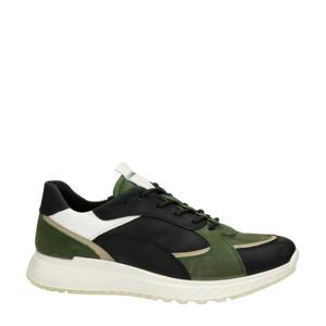 ST1  leren sneakers zwart/groen