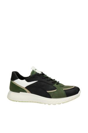 ST1  leren veterschoenen zwart/groen