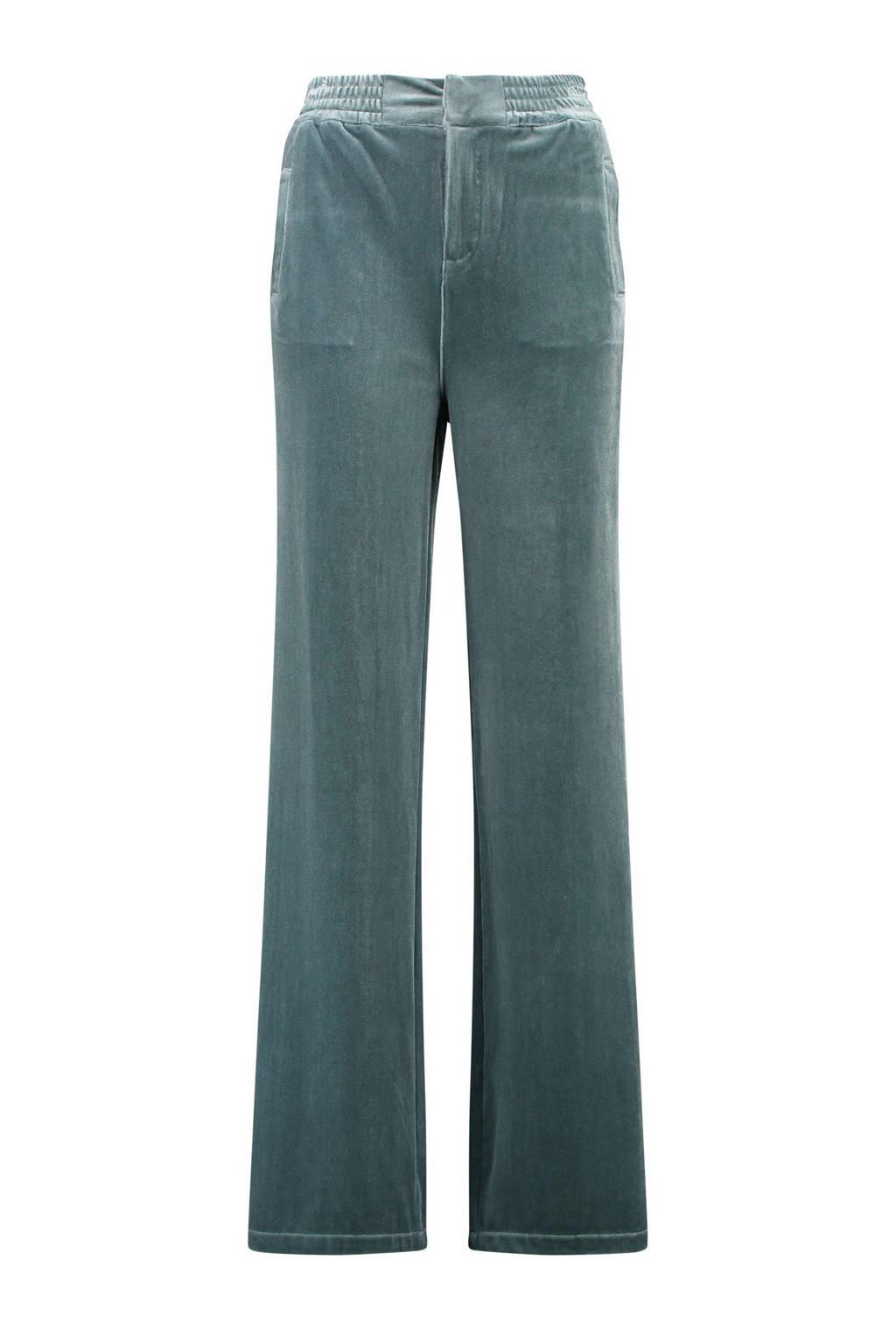 CKS velours high waist loose fit broek ijsblauw, IJsblauw