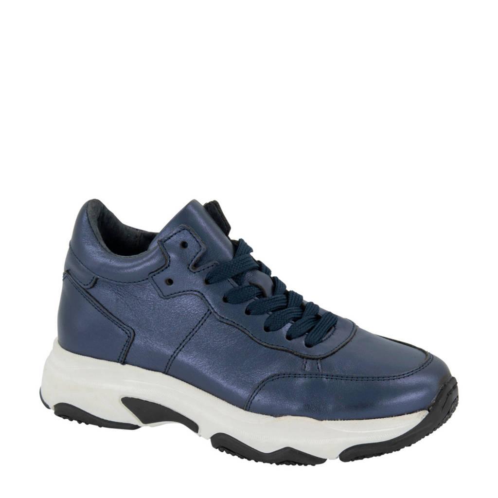 Graceland   leren sneakers metallic blauw, blauw/metallic