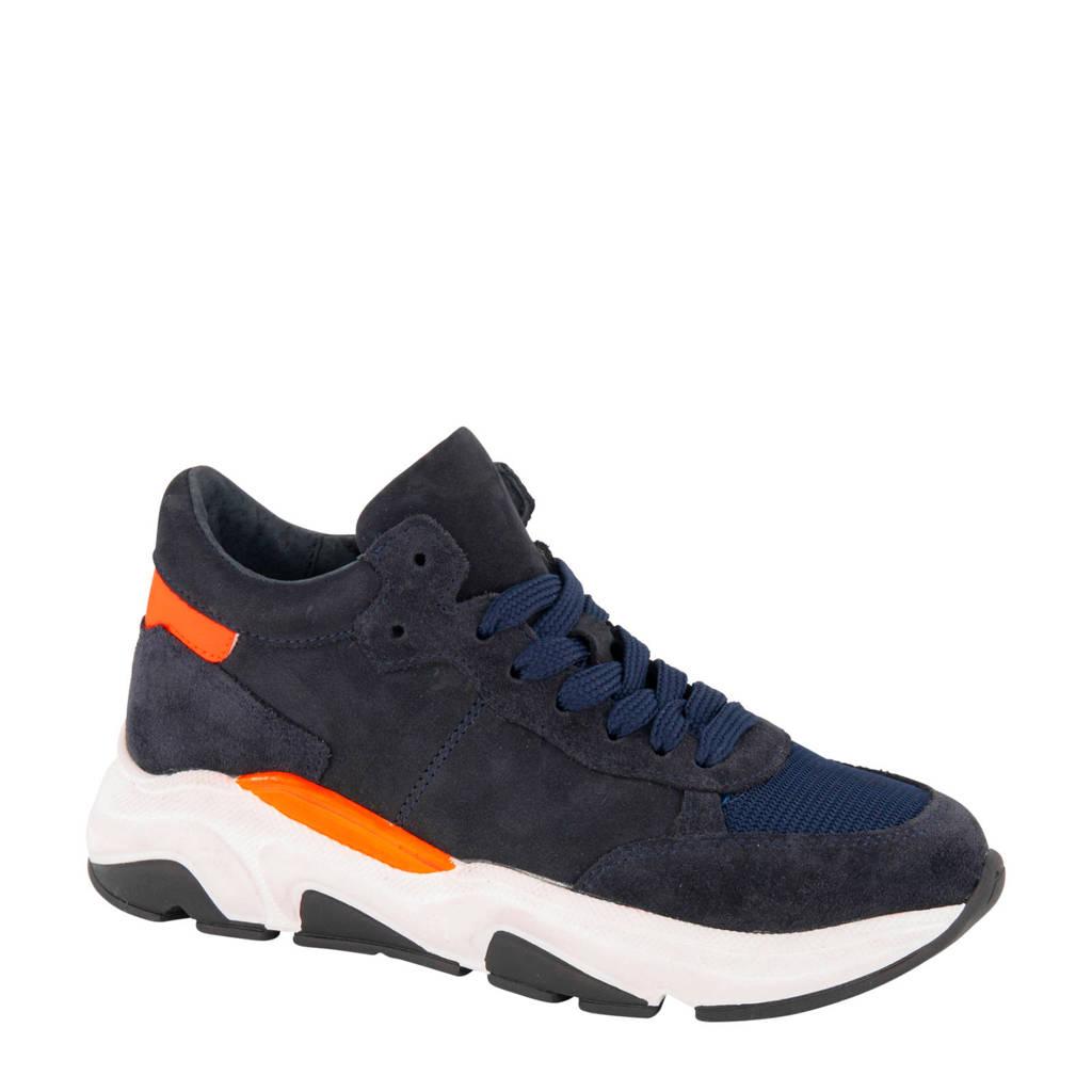 Victory   leren sneakers donkerblauw, Blauw/oranje