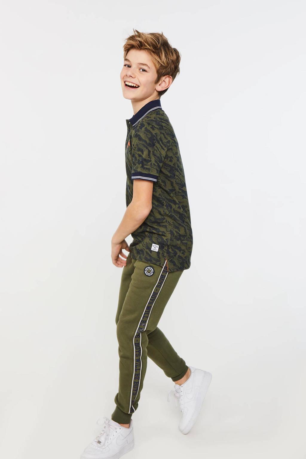 WE Fashion polo met tekst groen/donkerblauw/oranje, Groen/donkerblauw/oranje