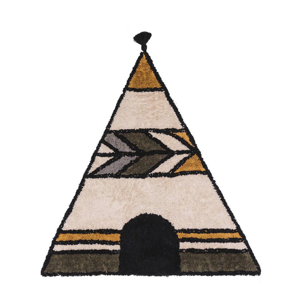Tapis Petit vloerkleed Rug Tipi  (130x140 cm), Okergeel/groen