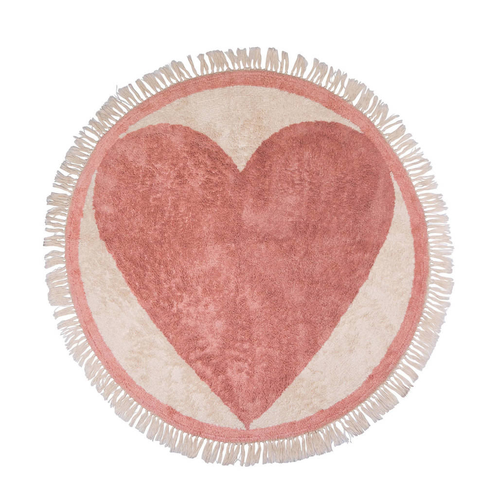 Tapis Petit kindervloerkleed Rug Round Heart  (Ø120 cm), Oudroze