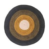 Tapis Petit kindervloerkleed Round  (Ø100 cm), Okergeel/groen