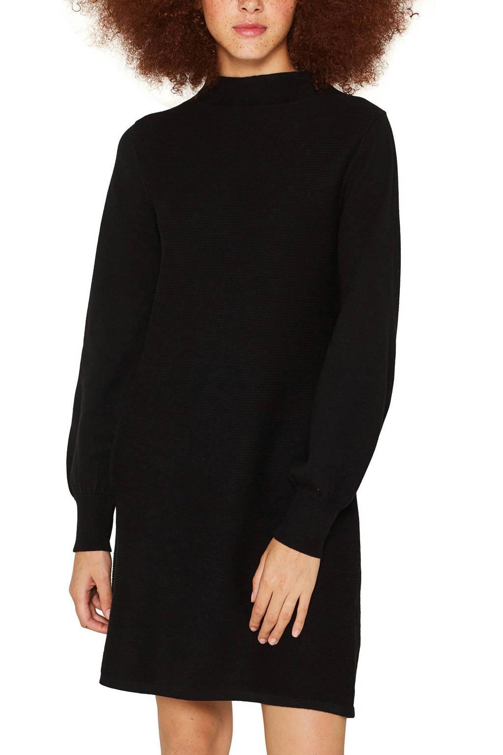 edc Women ribgebreide jurk zwart, Zwart