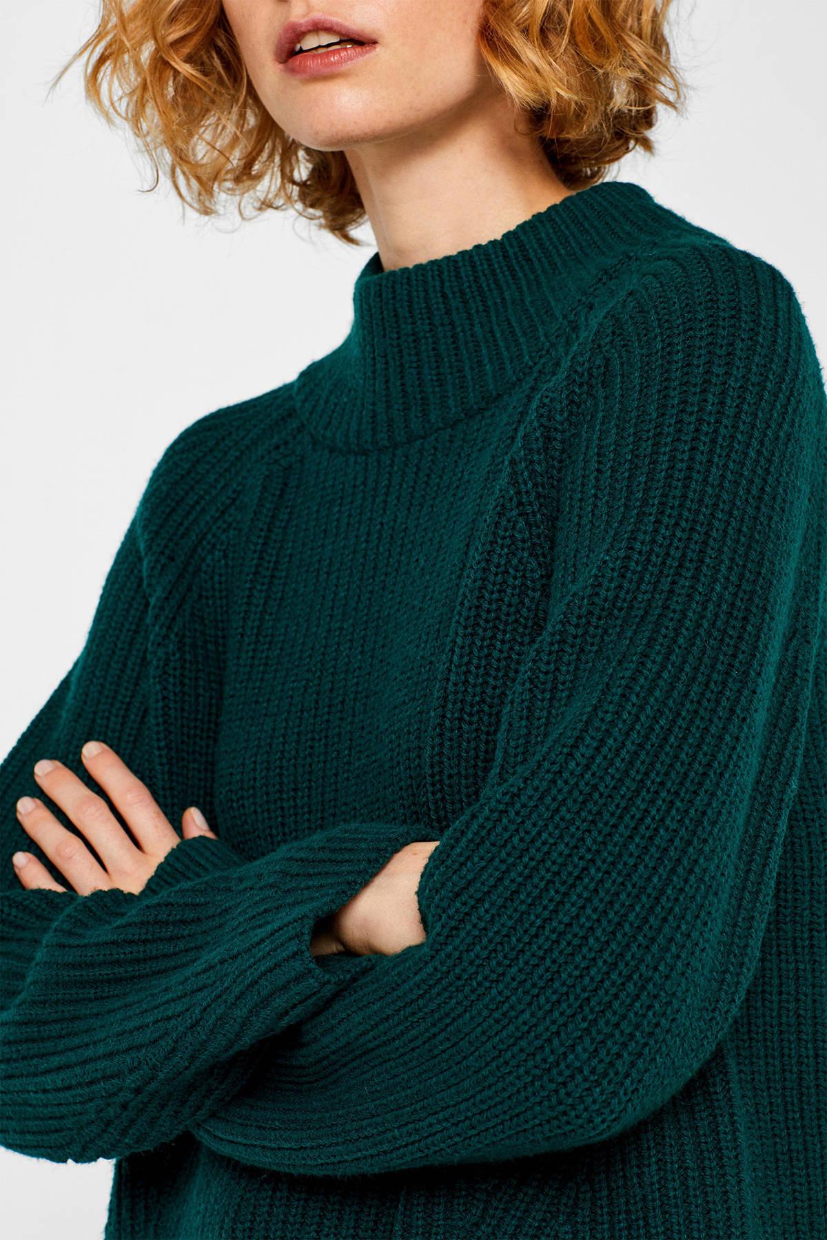 ESPRIT Women Casual grofgebreide coltrui groen | wehkamp