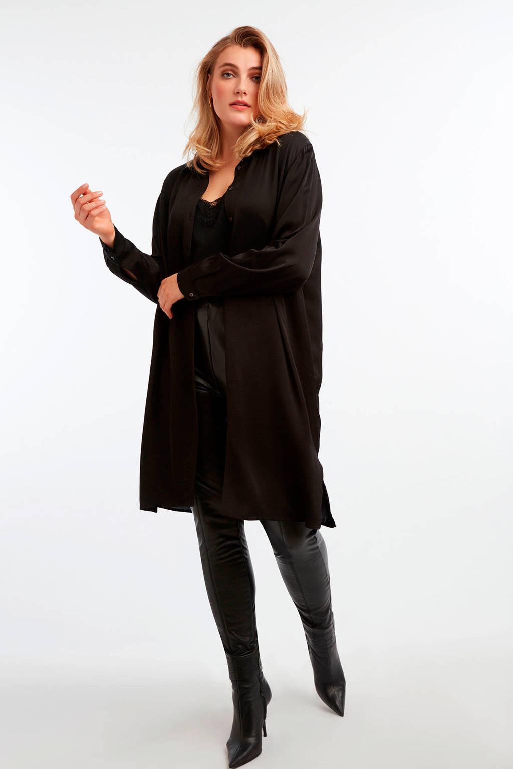 MS Mode imitatieleren legging zwart, Zwart