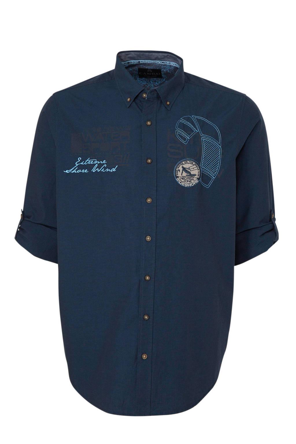 C&A XL Canda regular fit overhemd van biologisch katoen donkerblauw, Donkerblauw