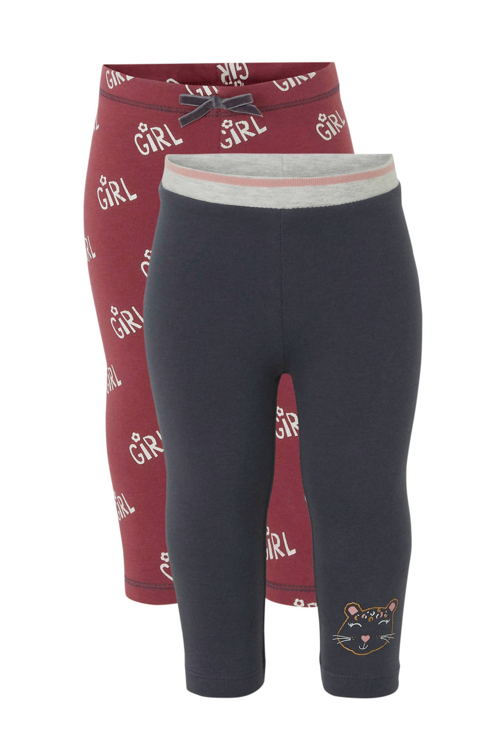 C&A Baby Club legging met all over print donkerblauw/bordeauxrood - set van 2, Donkerblauw/bordeauxrood