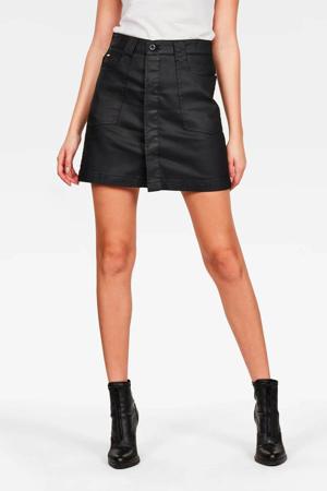 coated A-lijn rok zwart