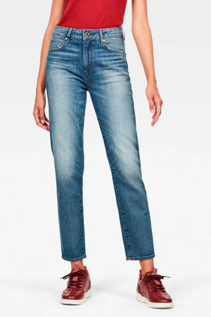 cropped high waist straight fit jeans blauw