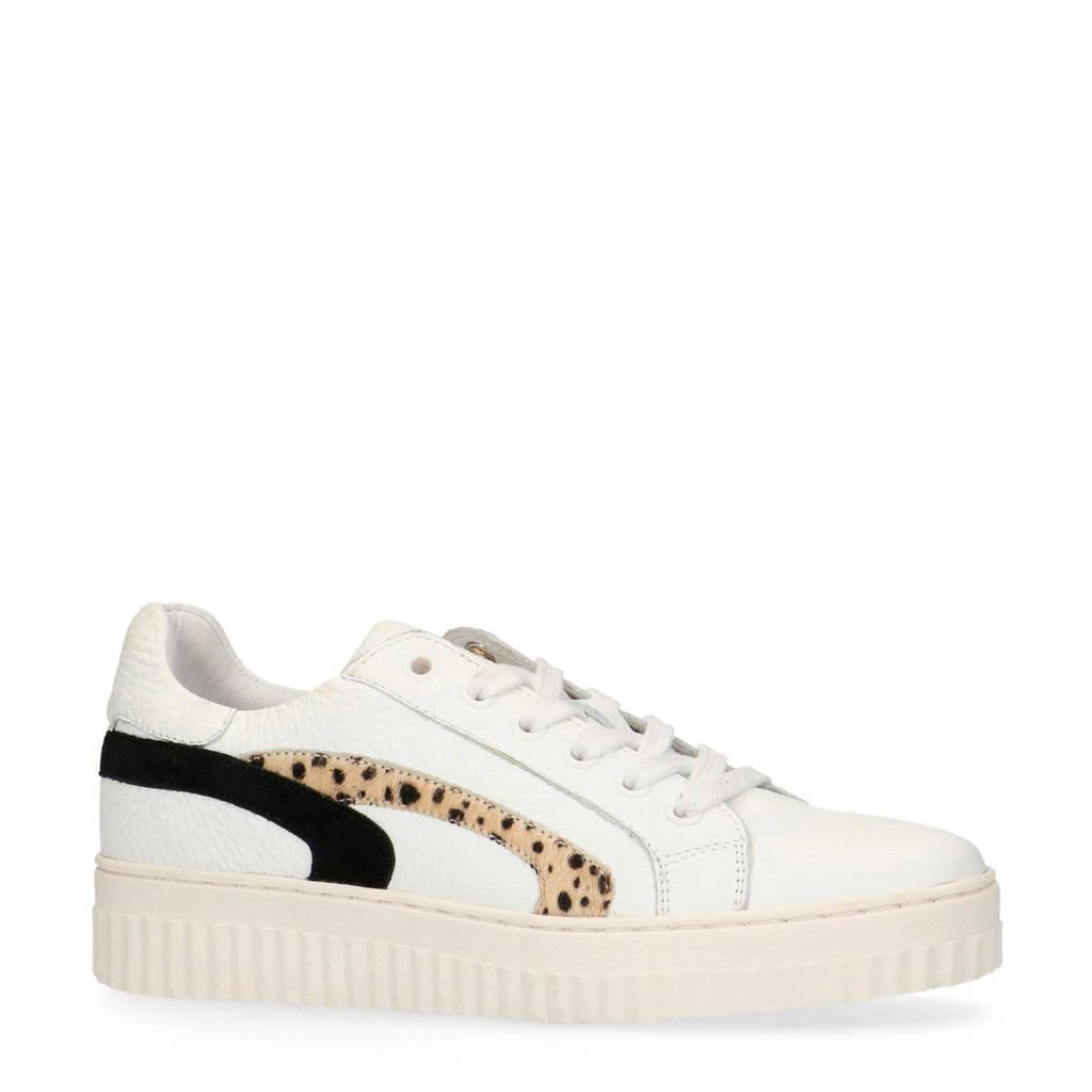 Manfield   leren sneakers wit/cheetahprint, Wit/zwart