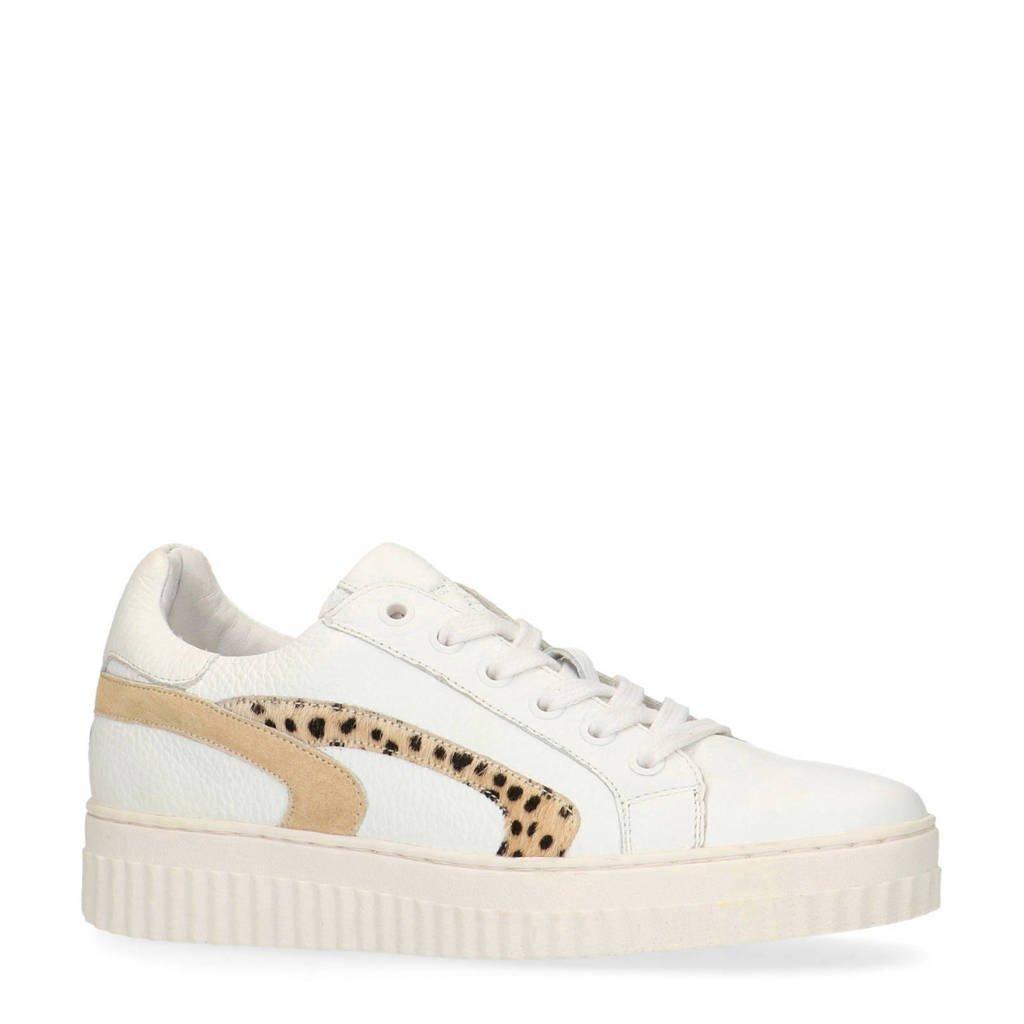 Manfield   leren sneakers wit/cheetahprint, Wit/bruin