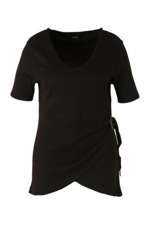 tuniek met overslag detail zwart