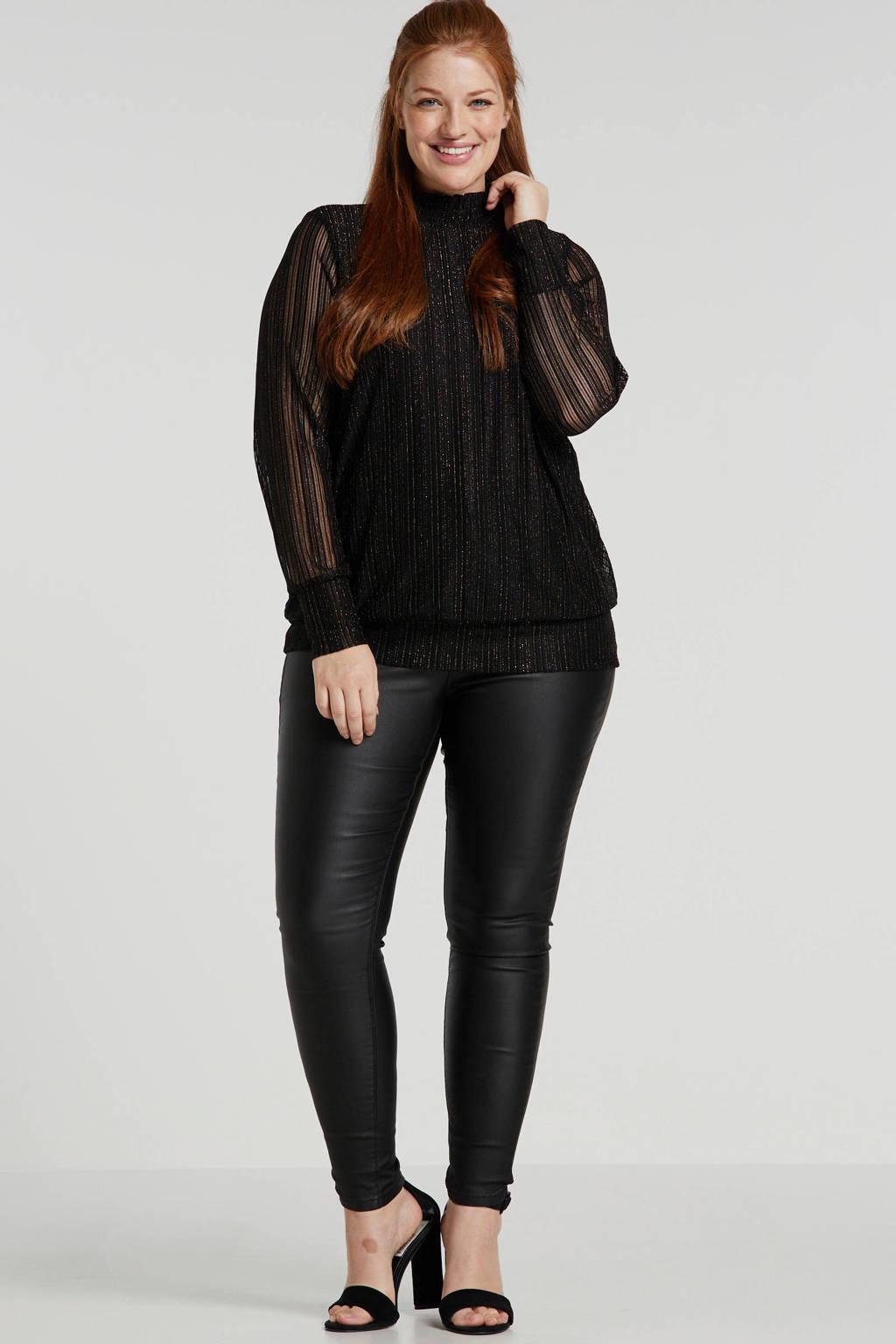 Simply Be coated high waist skinny jeans Chloe zwart, Zwart