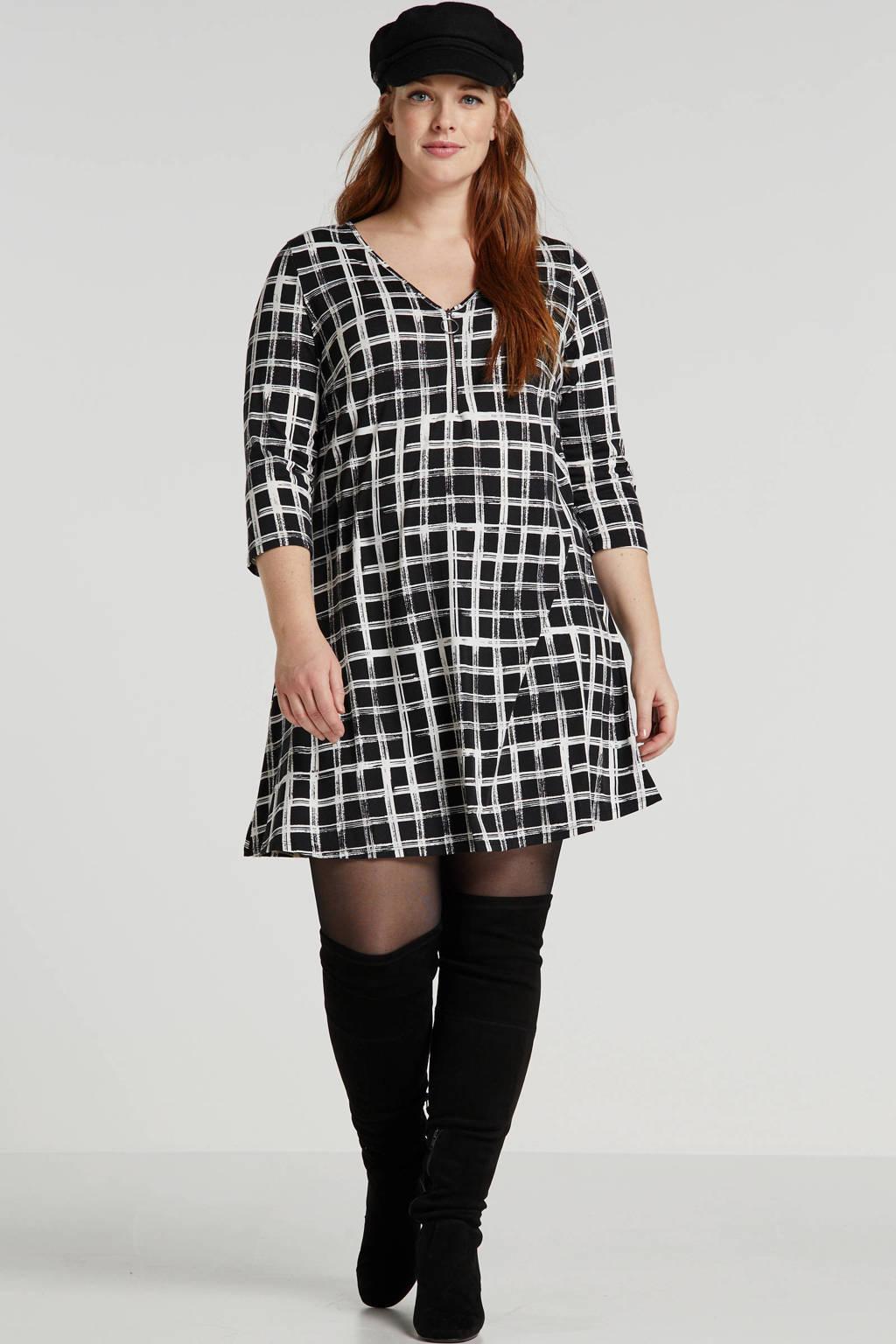 Simply Be geruite jersey jurk zwart/ecru, Zwart/ecru