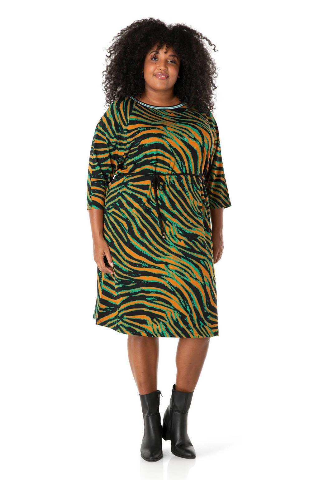 IVY BELLA jersey jurk met dierenprint en ceintuur groen, Groen