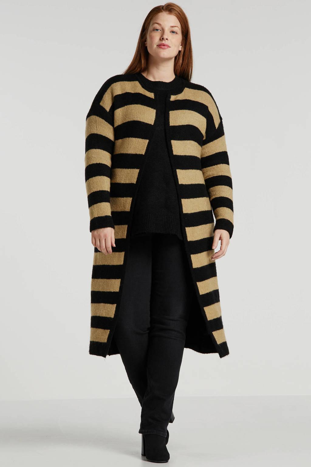 Simply Be Capsule gestreept omkeerbare vest zwart/camel, Zwart/camel