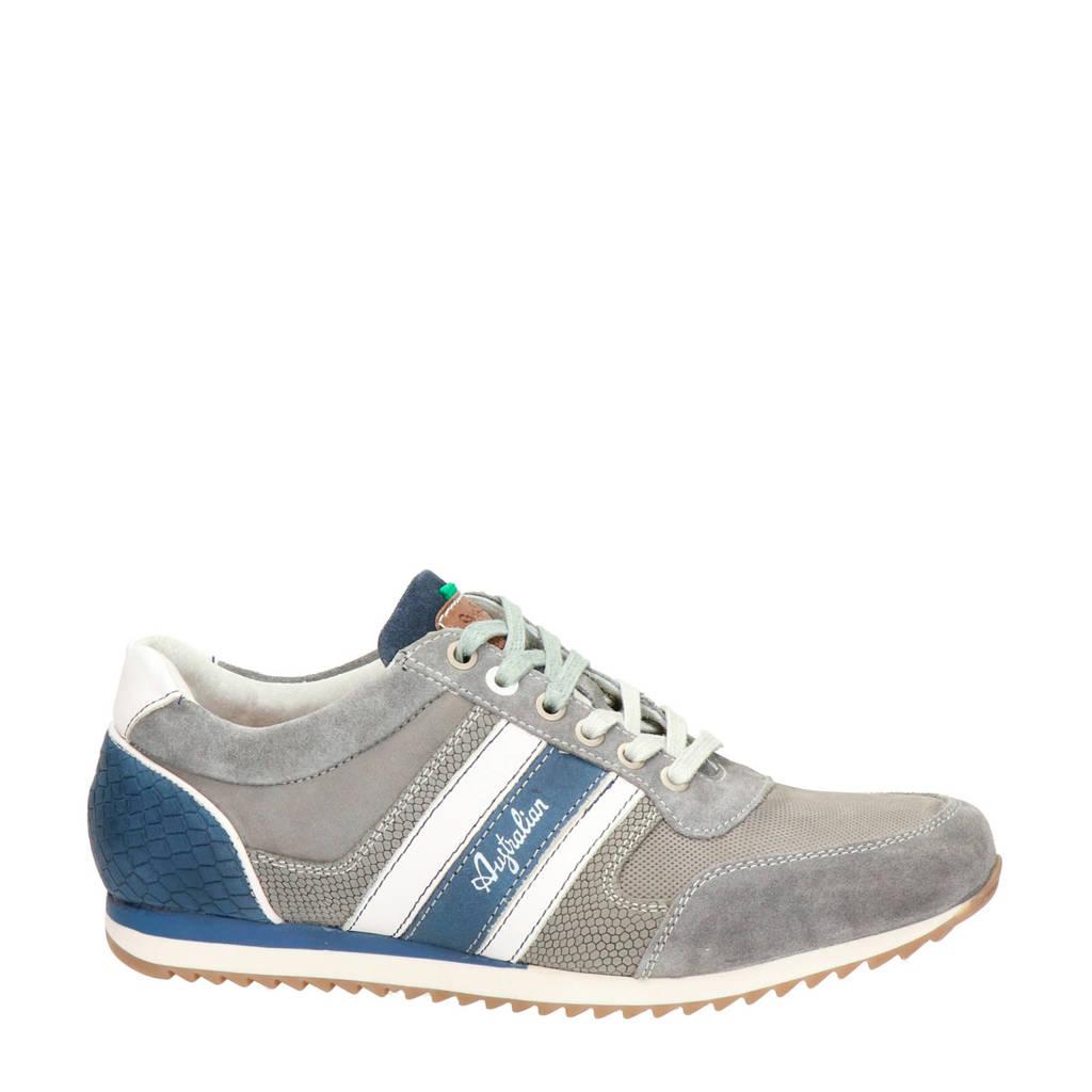 Australian Cornwell  leren sneakers grijs, Grijs/blauw