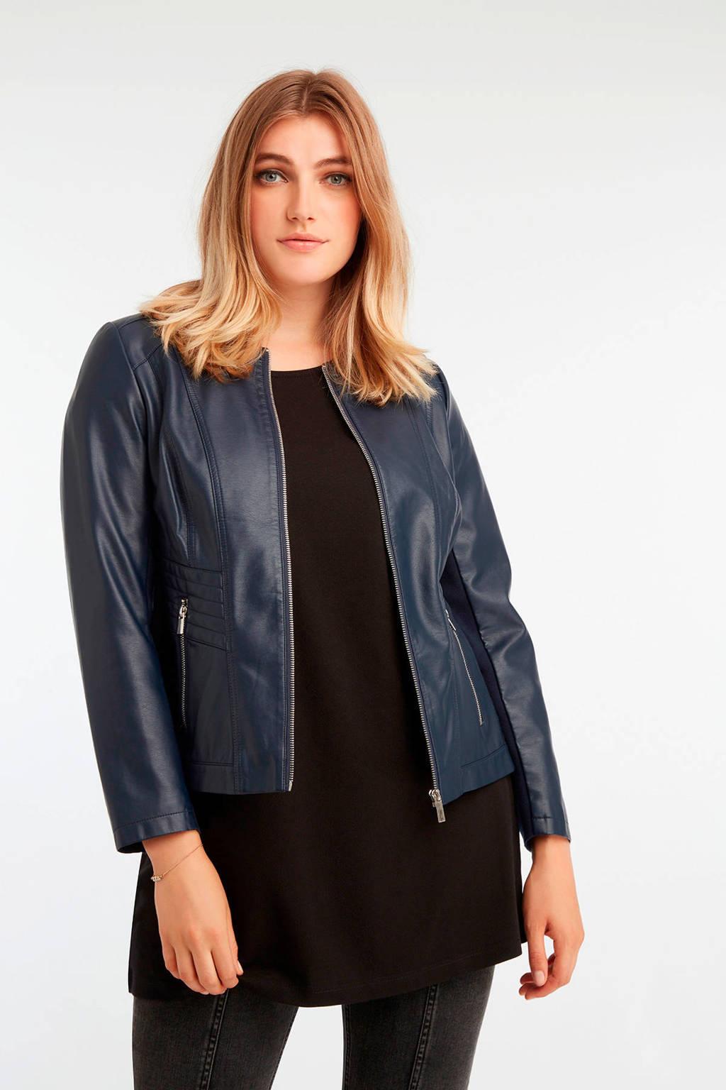 Wonderbaarlijk MS Mode imitatieleren jas blauw   wehkamp ZP-21