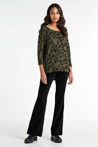 WE Fashion corduroy high waist flared broek zwart, Zwart