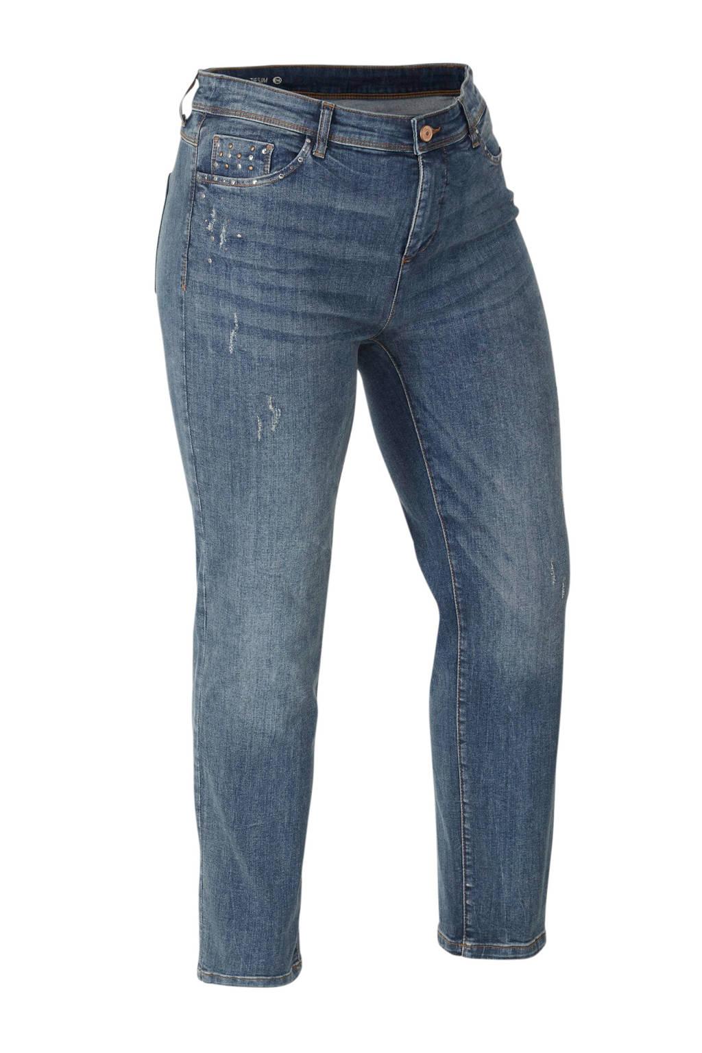 C&A The Denim XL slim fit jeans met studs denim blauw, Denim blauw