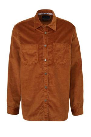 corduroy regular fit overhemd bruin
