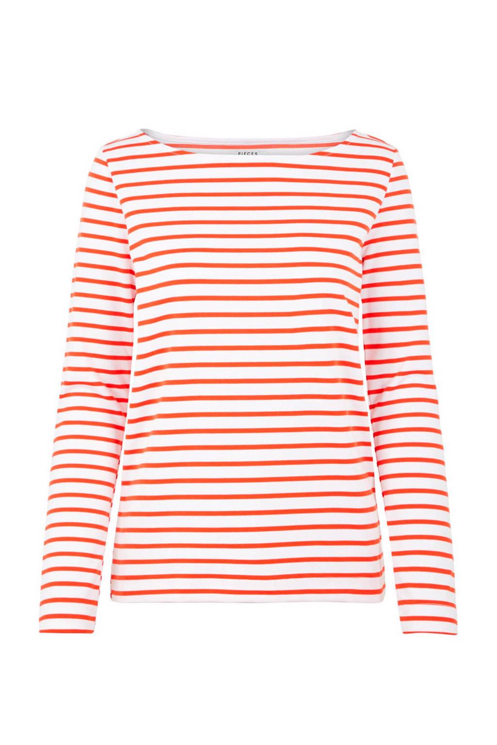PIECES gestreepte longsleeve rood/wit, Rood/wit