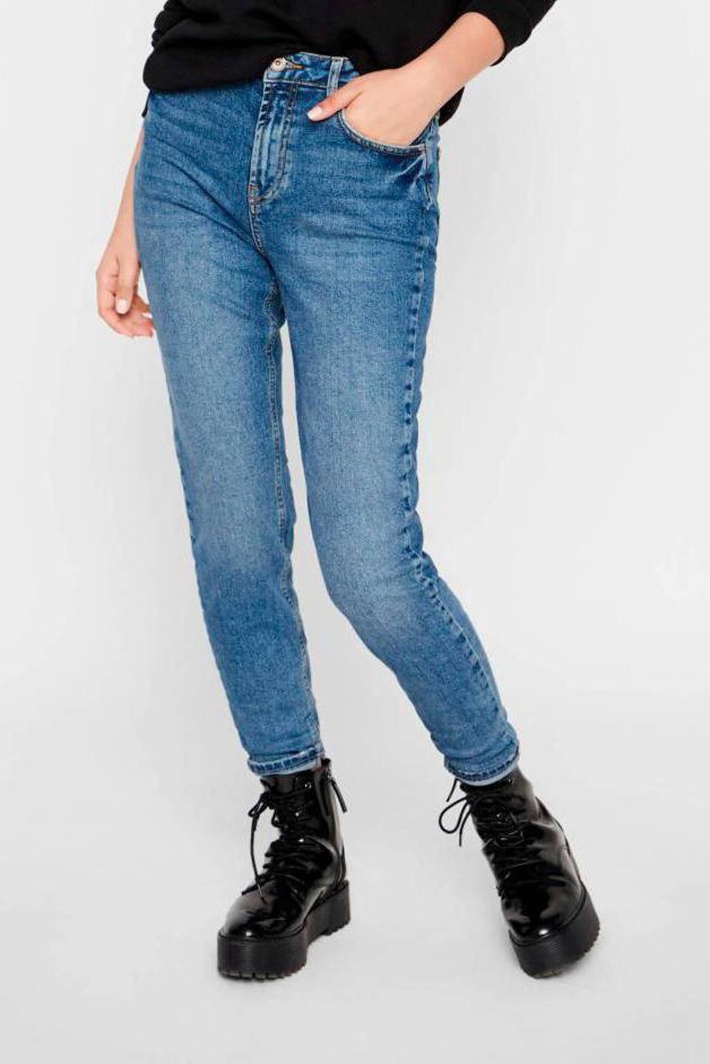 PIECES high waist mom jeans PCLEAH medium blue denim, Blauw