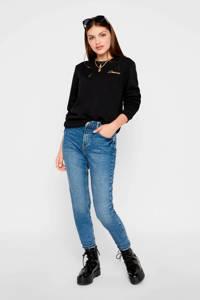 PIECES high waist mom jeans Leah blauw, Blauw