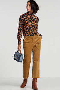 PIECES gebloemde blouse zwart/oranje, Zwart/oranje