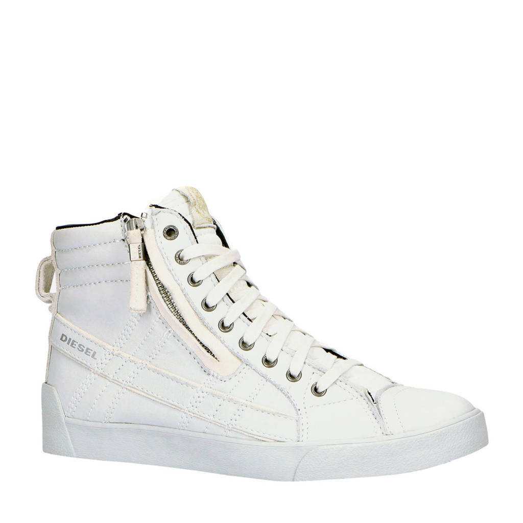 Diesel D-String Plus  hoge leren sneakers off white, Off White