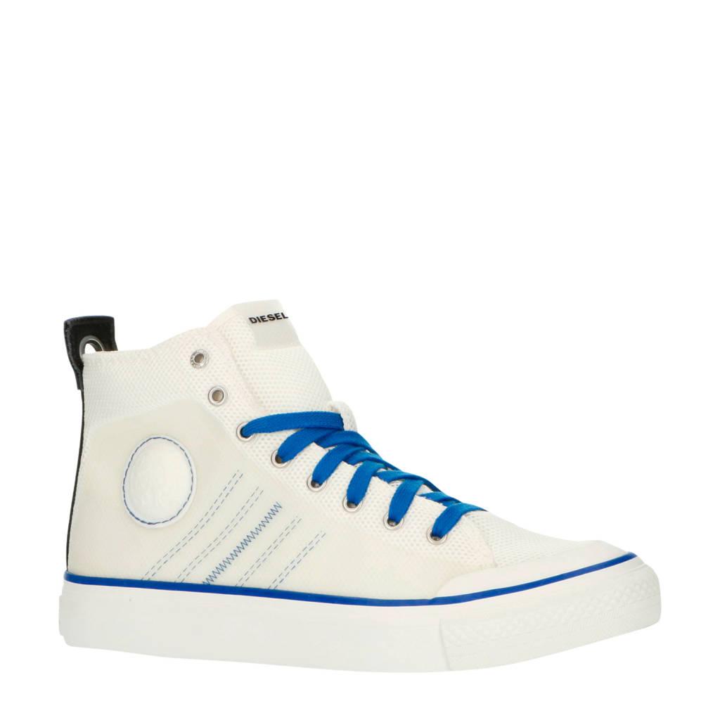 Diesel S-Astico MC H  halfhoge sneakers wit/blauw, Wit/blauw