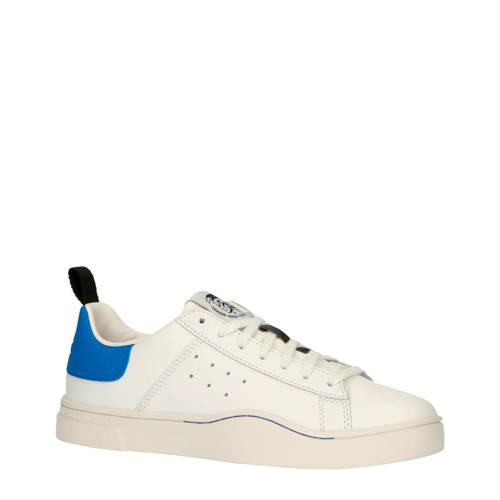 Diesel S-Clever Low leren sneakers wit/blauw