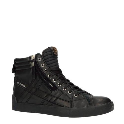Diesel D-String Plus hoge leren sneakers zwart