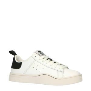 S-CLEVER LOW W  leren sneakers wit/zwart