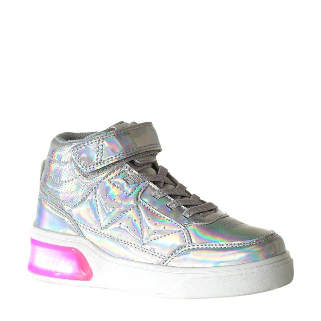 Scapino Blue Box   halfhoge sneakers met lichtjes zilver, Zilver/roze